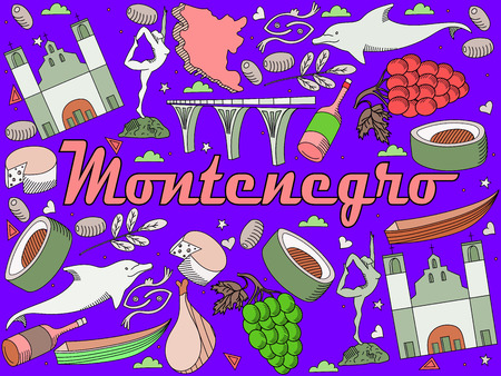 monasteries: Vector line art Doodle set of cartoon characters and objects on Montenegro.