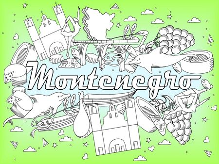 monasteries: Vector line art Doodle set of cartoon characters and objects on Montenegro. Coloring Book
