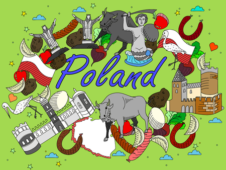 krakow sausage: Vector line art Doodle set of cartoon characters and objects on Poland.