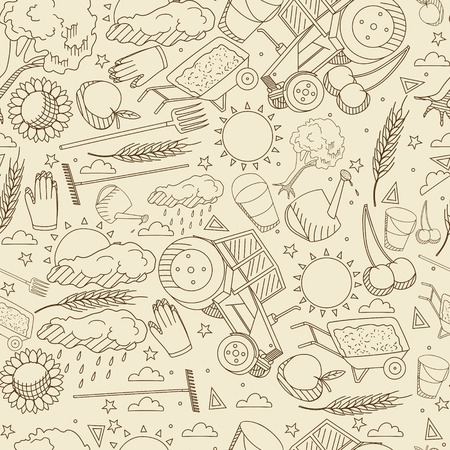 agronomy: Vector line art Doodle set of cartoon characters and objects Agronomy. Seamless retro Illustration
