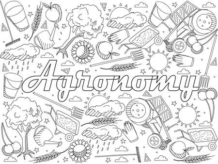 agronomy: Vector line art Doodle set of cartoon characters and objects Agronomy. Coloring Book Stock Photo