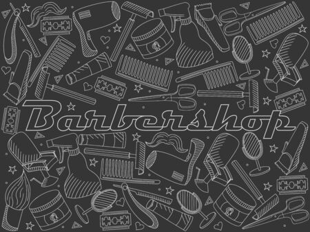 Vector line art Doodle set of cartoon characters and objects Barbershop. Hairdressing salon chalk  イラスト・ベクター素材