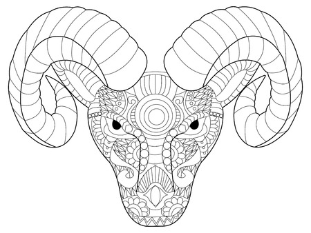 strengths: Head ram coloring book for adults vector illustration. Anti-stress coloring for adult. Zentangle style. Black and white lines. Lace pattern