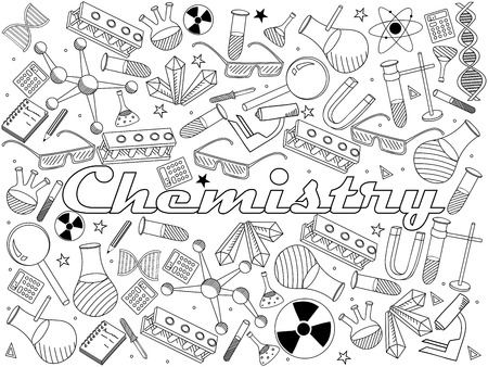 Vector line art Doodle set of cartoon characters and objects Chemistry. Coloring book Çizim