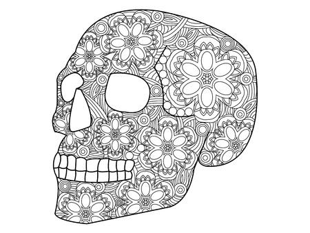 Skull coloring book for adults vector illustration. Anti-stress coloring for adult. Zentangle style. Black and white lines. Lace pattern Çizim