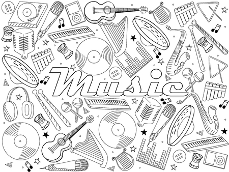 wind instrument: Vector line art Doodle set of cartoon characters and objects music instruments. Coloring book