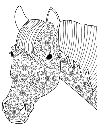 Head horse coloring book for adults vector illustration. Anti-stress coloring for adult. Nag zentangle style. Black and white lines. Lace pattern Çizim