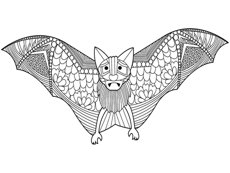 Bat coloring book for adults vector illustration. Anti-stress coloring for adult. Black and white lines. Lace pattern Illustration