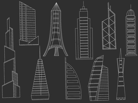 tower tall: Vector line art Doodle set of cartoon characters and objects tall buildings. Tower blocks chalk Illustration