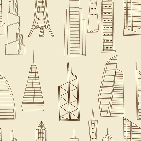 tower tall: Vector line art Doodle set of cartoon characters and objects tall buildings. Tower blocks seamless retro