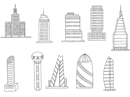 tall buildings: Vector line art Doodle set of cartoon characters and objects tall buildings. Tower blocks coloring book