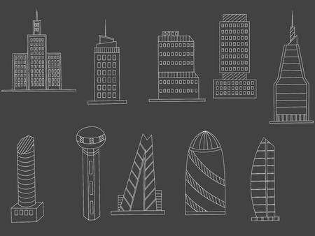 tall buildings: Vector line art Doodle set of cartoon characters and objects tall buildings. Tower blocks chalk Illustration