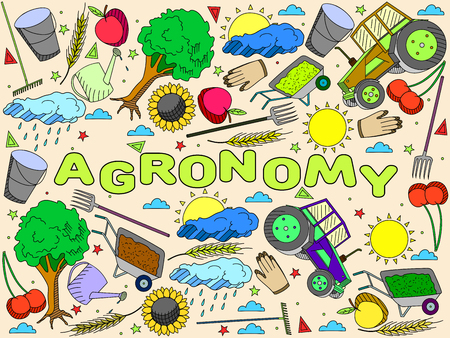 agronomy: Vector line art Doodle set of cartoon characters and objects Agronomy.