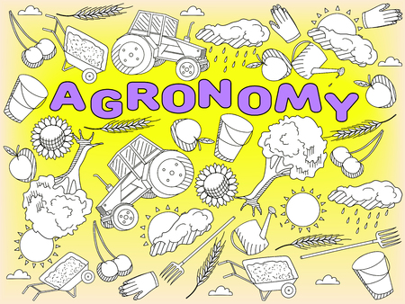 agronomy: Vector line art Doodle set of cartoon characters and objects Agronomy. Coloring Book Illustration
