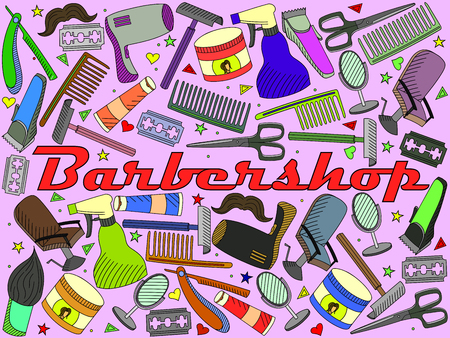 shearer: Vector line art Doodle set of cartoon characters and objects Barbershop. Hairdressing salon