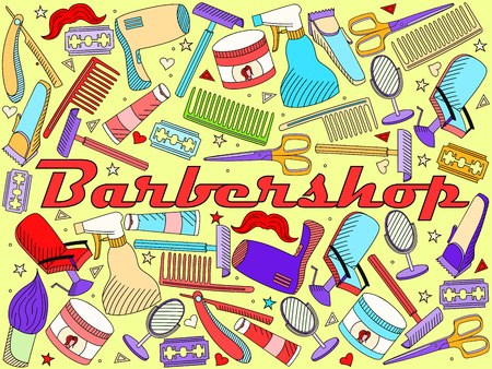 barbershop: Vector line art Doodle set of cartoon characters and objects Barbershop. Hairdressing salon