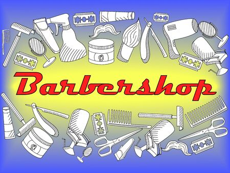 shearer: Vector line art Doodle set of cartoon characters and objects Barbershop. Hairdressing salon coloring book