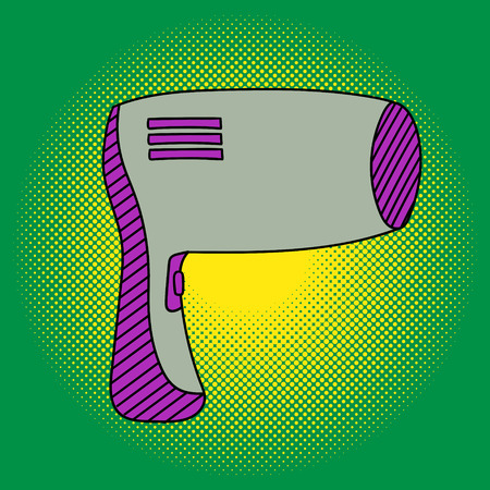 haircutter: Hairdryer hairdresser Pop art vector illustration. Beautiful green maple tree in comic style. Hand drawn Illustration