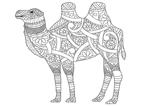 Camel coloring book for adults vector illustration. Anti-stress coloring for adult. style animal. Black and white lines. Lace pattern Vettoriali