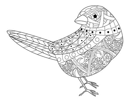 Sparrow kleurboek voor volwassenen vector illustratie. Anti-stress kleur voor volwassenen. stijlvogel. Zwart-witte lijnen. Kantpatroon