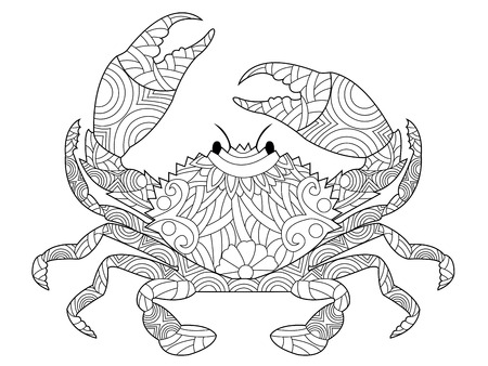 decapod: Crab coloring book for adults vector illustration. Anti-stress coloring for adult. style decapod crustaceans. Black and white lines. Lace pattern Illustration