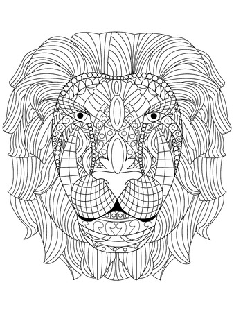 tiger white: Lion head coloring book for adults vector illustration. Anti-stress coloring for adult.   tiger. Black and white lines. Lace pattern Illustration