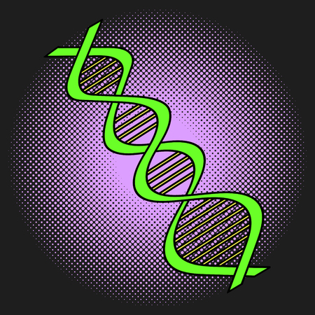 deoxyribonucleic: DNA Pop art vector illustration. Beautiful style comic Deoxyribonucleic acid. Hand-drawn
