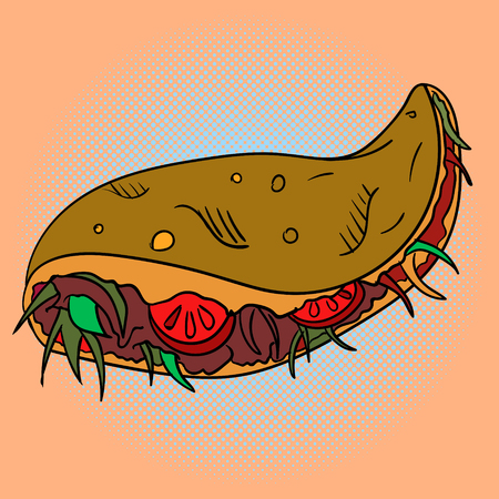 speciality: Taco Pop art vector illustration. Beautiful style comic. Hand-drawn Mexican dish