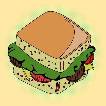 peppar: Sandwich Pop art vector illustration. Beautiful style comic. Hand-drawn burger