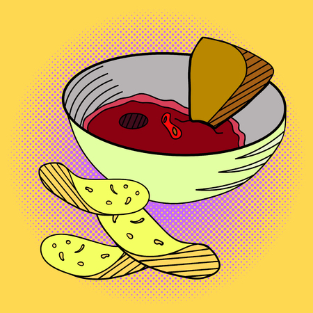chips and salsa: Sauce and chips Pop art vector illustration. Beautiful style comic mexican food. Hand-drawn salsa sauce Illustration