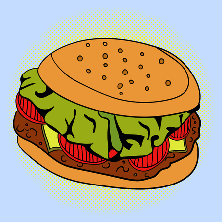 peppar: Sandwich Pop art vector illustration. Beautiful style comic. Hand-drawn burger