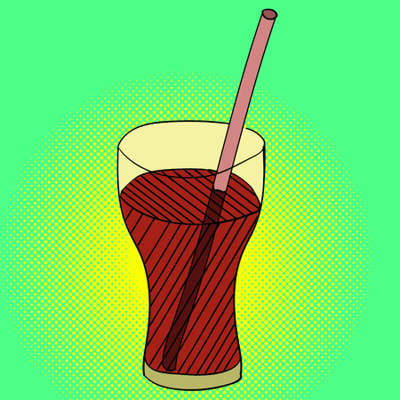 fizzy: Drink Pop art vector illustration. Beautiful style comic lemon in glass with a straw. Hand-drawn fizzy water Stock Photo