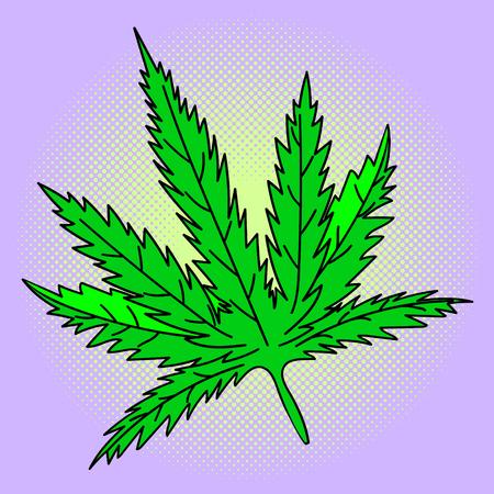 indica: Cannabis leaf Pop art vector illustration. Beautiful style comic medication. Hand-drawn green herb