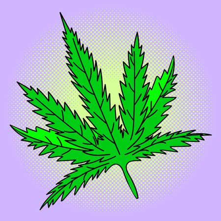 Cannabis leaf Pop art vector illustration. Beautiful style comic medication. Hand-drawn green herb