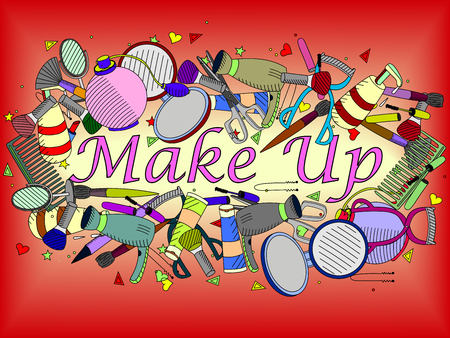 maquillage: Vector line art Doodle set of cartoon characters and objects make up. Maquillage