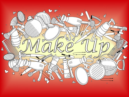 maquillage: Vector line art Doodle set of cartoon characters and objects make up. Maquillage coloring book