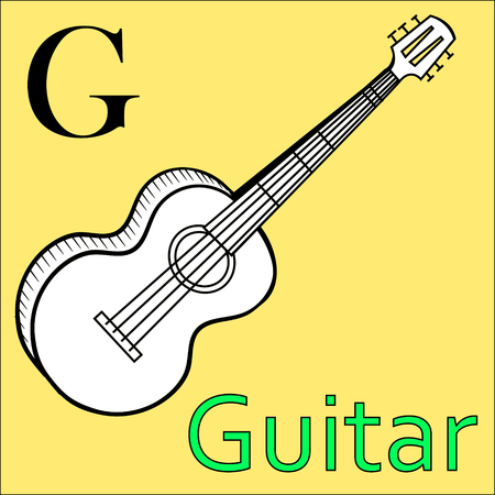 g string: G letter. Object capital alphabet. Colorful font. Uppercase. Musical instrument. Worksheet, Exercises for kids, Coloring book. Illustration of alphabet letters with beautiful clip arts guitar
