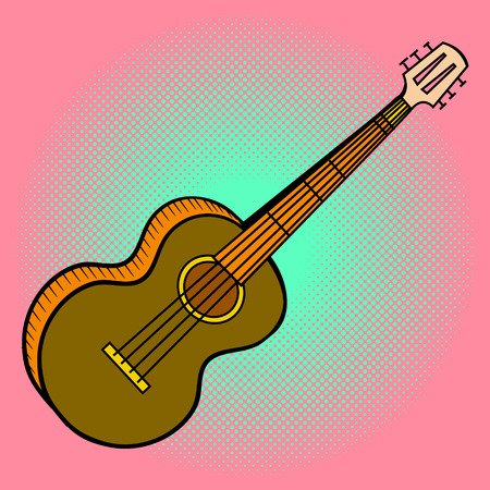bluegrass: Guitar pop art illustration. Beautiful style comic. Hand-drawn musical instrument. Illustration