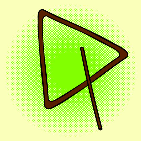 triangle musical instrument: Triangle pop art illustration. Beautiful style comic. Hand-drawn musical instrument.