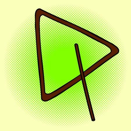 caller: Triangle pop art illustration. Beautiful style comic. Hand-drawn musical instrument.
