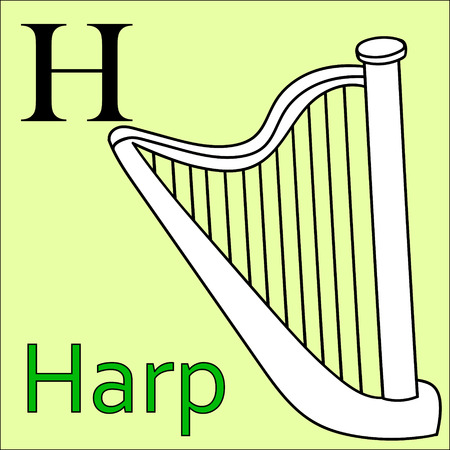 philharmonic: H letter. Object capital alphabet. Colorful font. Uppercase. Musical instrument. Worksheet, Exercises for kids, Coloring book. Illustration of alphabet letters with beautiful clip arts harp
