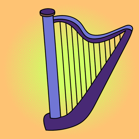 conservatory: Harp pop art illustration. Beautiful style comic. Hand-drawn musical instrument.