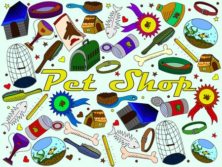 shop for animals: line art Doodle set of cartoon characters and objects pit shop. Illustration