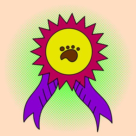 ganado: Conciencia de la cinta del arte pop ilustración. estilo cómico hermoso. Dibujado a mano. Medalla en la exposición de los animales