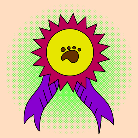 Awareness ribbon pop art illustration. Beautiful style comic. Hand-drawn. Medal at the exhibition of animals Illustration