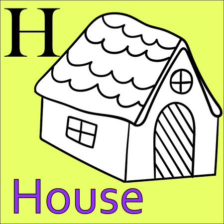 english village: H letter of the alphabet. Developmental exercises for children, coloring books. Vector Illustration Graphics house Illustration