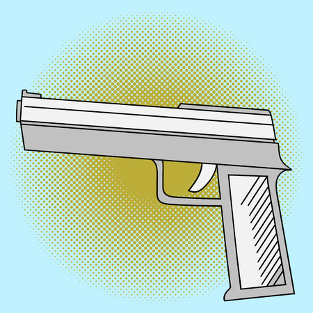 45 caliber: Pistol pop art vector. Beautiful comic style. Hand drawn weapon Illustration