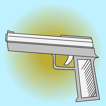 Pistol pop art vector. Beautiful comic style. Hand drawn weapon Illustration
