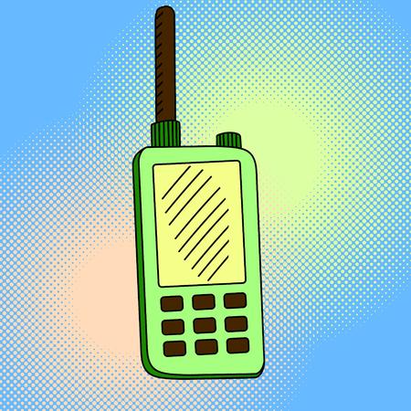 portable radio: portable radio sets pop art vector. Beautiful comic style. Hand drawn