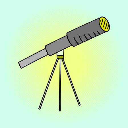 electromagnetic radiation: Telescope pop art vector illustration. Beautiful style comic. Hand-drawn. Device with which you can observe distant objects by collecting electromagnetic radiation